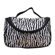 Garrelett Cosmetic Tote Bag Zebra Stripes Zipper Nylon Makeup Organiser Handbag Beauty Toiletry Pouch for Women Girls
