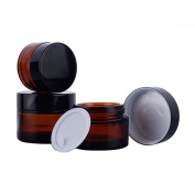 4PCS 20ML/30ML Amber Glass Refillable Cosmetic Cream Jars Pot Empty Bottle Container with Screw Lid