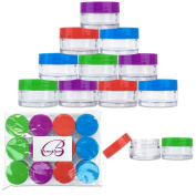 Beauticom 12 Pieces 20G/20ML Round Clear Jars with Mixed Colour Lids (Red, Green, Purple, Blue) for Lotion, Creams, Toners, Lip Balms, Cosmetic Makeup Samples - BPA Free