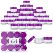 Beauticom 48 Pieces 20G/20ML Round Clear Jars with PURPLE Lids for Lotion, Creams, Toners, Lip Balms, Cosmetic Makeup Samples - BPA Free