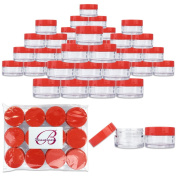 Beauticom 48 Pieces 20G/20ML Round Clear Jars with RED Lids for Lotion, Creams, Toners, Lip Balms, Cosmetic Makeup Samples - BPA Free
