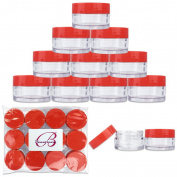 Beauticom 12 Pieces 20G/20ML Round Clear Jars with RED Lids for Lotion, Creams, Toners, Lip Balms, Cosmetic Makeup Samples - BPA Free