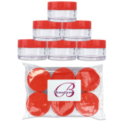 Beauticom 6 Pieces 20G/20ML Round Clear Jars with RED Lids for Lotion, Creams, Toners, Lip Balms, Cosmetic Makeup Samples - BPA Free