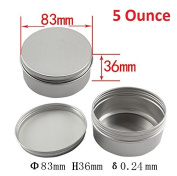 Healthcom 150ml 12 Pack Screw Top Round Steel Tin Cans Aluminium Metal Tin Flat Storage Container for DIY Beauty,Cosmetics,Accessories,Candle Travel Tins or Storage Survival Kit