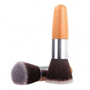 Brendacosmetic Professional Flat Round Foundation Brush Bamboo Handle Powder Brush,Portable Essential Makeup Cosmetic Tool Blush Brush for Face Beauty