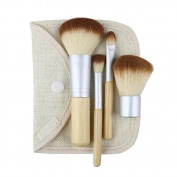 Brendacosmetic Set of 4 Pcs Bamboo Handle Makeup Cosmetic Brushes,Portable Essential Makeuo tool Cosmetic Brush Set with a Bag for women