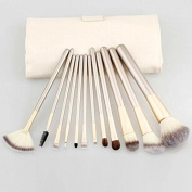 Brendacosmetic 12 Pcs Professional Champagne Makeup Cosmetic Brushes Set ,Essential Portable Soft Wool Cosmetic Brushes Makeup Tool for Beauty with Cream-coloured CaseBag