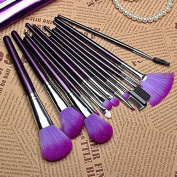 Brendacosmetic 16Pcs Professional Romantic Purple Wooden Handle Cosmetic Brush Set,Portable Essential Foundation Blush Powder Brushes for Makeup with A Bag