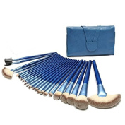 Brendacosmetic 24pcs Professional makeup brushes set with Persian wool,Blue handle Cosmetic brushes for eyeshadow,blush,sheedin with Leather Pouch