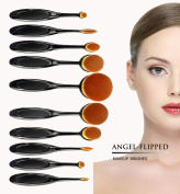 AngelFlipped Professional Cosmetic Soft Oval Foundation 10 Pcs Sets Black Toothbrush Design Powder Makeup Brushes with Box