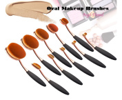 AngelFlipped Professional Cosmetic Soft Oval Foundation 10 Pcs Sets Rose Gold Toothbrush Design Powder Makeup Brushes with Box