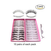 Teenitor 20 Pair 10 Desgin Japanese Style Fake False Upper Lower Bottom Eyelash False Eyelashes With Extension Applicator Tool