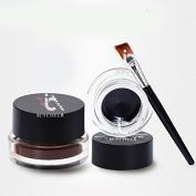 2PCS Black & Brown Cosmetic + Brush Waterproof Eye Liner Gel Eyeliner Makeup Sets