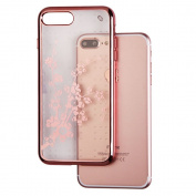 MyBat SPOTS Electroplated Premium Candy Skin Cover for iPhone 7 Plus - Rose Gold Glassy Spring Flowers