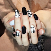 YUNAI Fake Nails Round Head Back & White Clean Lines Plaid Design Fake Nails Medium Size