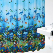 EVA Waterproof and Mouldproof Shower Curtains , FheavenOcean Sea Life Fish Curtains Colourful Bright Waterproof Shower Bathroom With Hooks Ring 180X180cm