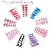 Brendacosmetic 12 Pcs Fashion Designed Acrylic Designer Nail tips False French Nails,Rainbow Art Display Manicure tools for Finger Nail Beauty