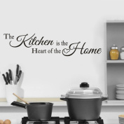 "Wall Sticker For Kitchen,Fheaven 58x13CM ""The Kitchen is the heart"" The Decor Wall Sticker Decal Bedroom Removable Vinyl Art Mural Gift"