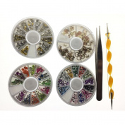 MIRADA (TM) Metallic Luminous Studs Round Sqaure Rectangle Glitters Stickers Slices Plate & Nail Nipper & Dotting Pen Ladies Beauty Nail Art DIY Decorations Set
