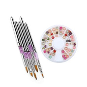 Brendacosmetic Wheels DIY 3D Acrylic Edging Flat Square Round Peal Nail Sticker Fashion Accessories with Acrylic UV Gel Nail Art Tips Drawing Design Polish Flat Carving Pen for Manicure