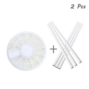 Brendacosmetic Pack of One Wheel DIY 3D Acrylic 1.5-3.0 mm Peal Nail Sticker Wheels Nail Art Kit Nail Art Decroation & 2 Pcs Nail Art Picker Pencil Nail Art Tool for Manicure
