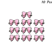 Brendacosmetic Pack of 10 Pcs Pretty Pink Butterfly Bow Nail Art Sticker DIY Nail Design ,Lovely Girls Shinning Alloy Rhinestones Bow Tie 3D Decoration Tool For Maniture.