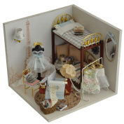 A-szcxtop DIY Wood Dollhouse With Furniture Cover and LED Miniature Wood Toy House Doll Room