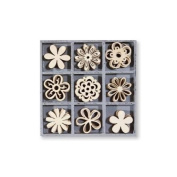 Kars Wooden Embellishment Box - Flower Fantasy - 45 pieces,+/- 3cm