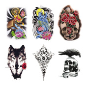 Fake Waterproof Removable Temporary Tattoos - Fashion Lady Long Lasting Body Art Stickers - Ferocious Wolf Fish Totem Crow Skull Clock Flower Hourglass - 6 Styles Body Painting Premium Kit for Guys