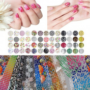 Biutee 50/25 Pcs Mix Colour Fashion Design Nail Art Transfer Foil Nail Tips Decoration Nails Art Start Design Sticker Decal For Polish Care DIY Nail Tools