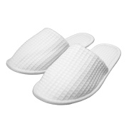Waffle Closed Toe Adult Slippers Cloth Spa Hotel Unisex Slippers for Women and Men White