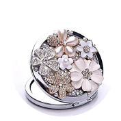 Brendacosmetic Fashion Rhinestone Flower Story Round Folding Makeup Mirror Compact Mirror,Portable Double-sized 2X Magnifying Makeup Cosmetic Mirror Travel Mirror for Easy Carrying