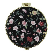 Brendacosmetic Chinese Embroidered Cloth printing makeup mirror for women,Round Retro Double-sided folding Portable compact mirror for carrying out