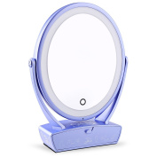 SKM Makeup Mirror LED Lighted, Double Side 1x/5x Magnification Cosmetic Mirror, Desktop Mirror with Adjustable Brightness LED Light, USB Rechargeable Vanity Mirror with Drawer, Violet