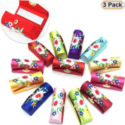 Hisight 3pcs Lipstick Case Set with High-grade embroidery brocade Mirror with Gorgeous Jewellery Box -- Random Assorted Colours
