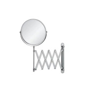 Garrelett Wall Cosmetic Mirror, Rotate Dual-Side Normal Mirror & 2X Magnifying Glass Stainless Steel Beauty Make up Mirror 15cm