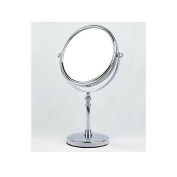 Garrelett Stand Cosmetic Mirror, Rotate Dual-Side Normal Mirror & 3X Magnifying Glass Stainless Steel Beauty Make up Mirror 15cm