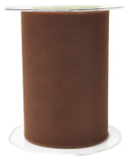 May Arts 471-5-33 Brown 13cm Tulle Ribbon,Brown,50 yd
