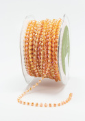 May Arts 437-28 Orange 4mm String Beads Ribbon,Orange,25 yd