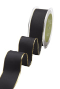 May Arts 539-15-10 Black/Gold Edge 3.8cm Solid with Metallic Edge,Black/Gold Edge,25 yd