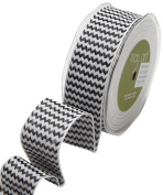 May Arts 443-15-10 Black/White 3.8cm Wired Woven Chevron Ribbon,Black/White,25 yd