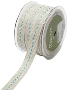 May Arts 463-58-94 Turquoise 1.6cm Burlap Centre Stitch Ribbon,Turquoise,30 yd