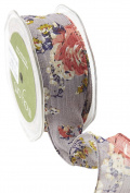 May Arts 518-15-31 Grey 3.8cm Sheer Spring Floral Print Ribbon,Grey,20 yd