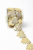 May Arts A478-15-30 Gold 3.8cm Adhesive Sequin Heart,Gold,10 yd