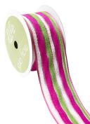 May Arts 527-15-22 Pink/Green/White 3.8cm Fuzzy Multi-Stripe Ribbon,Pink/Green/White,25 yd