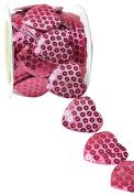 May Arts A478-15-23 Hot Pink 3.8cm Adhesive Sequin Heart,Hot Pink,10 yd