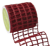 May Arts 516-4-14 Red 10cm Open Weave Burlap Net,Red,10 yd