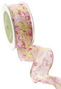 May Arts 518-15-17 Pink 3.8cm Sheer Spring Floral Print Ribbon,Pink,20 yd