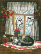 cat by window cross stitch kits, 14ct, Egypt cotton thread 260x348stitch, 57x73cm cross stitch kits