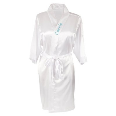 Personalised Satin Robe with Flip Flop Set (L/L, White)